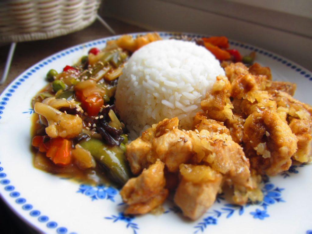 Putenbrust mit Orangenmarinade und asiatischem Gemüse