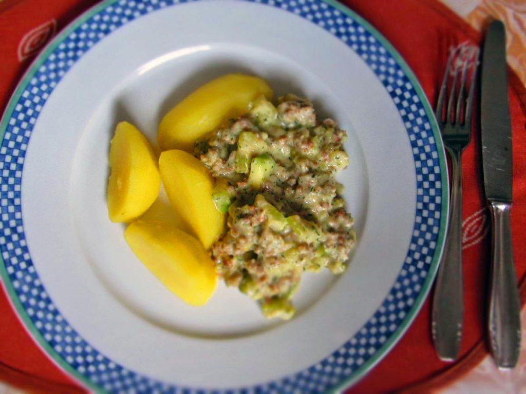 Zucchini-Senf-Schmand-Pfanne