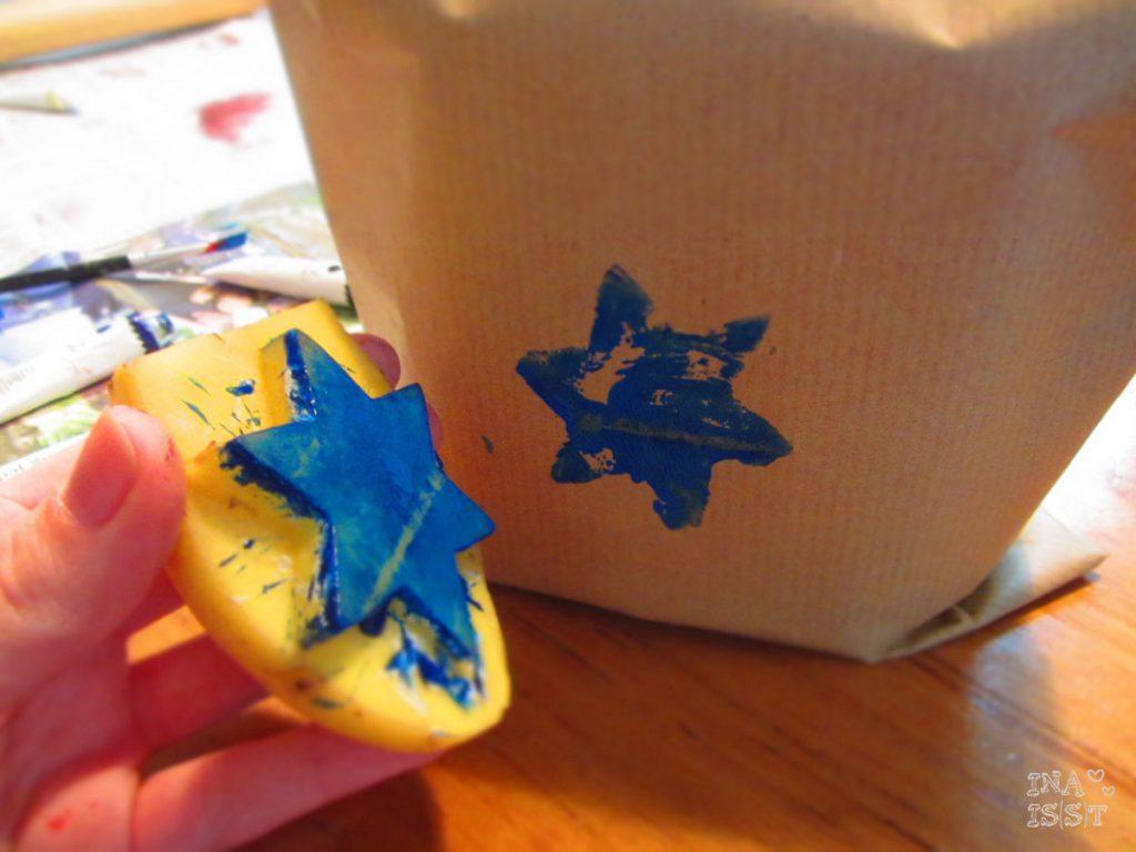 DIY Geschenkpapier mit Kartoffeldruck
