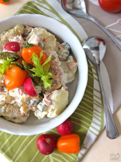Kartoffel-Gemüsesalat mit Joghurt-Schmanddressing