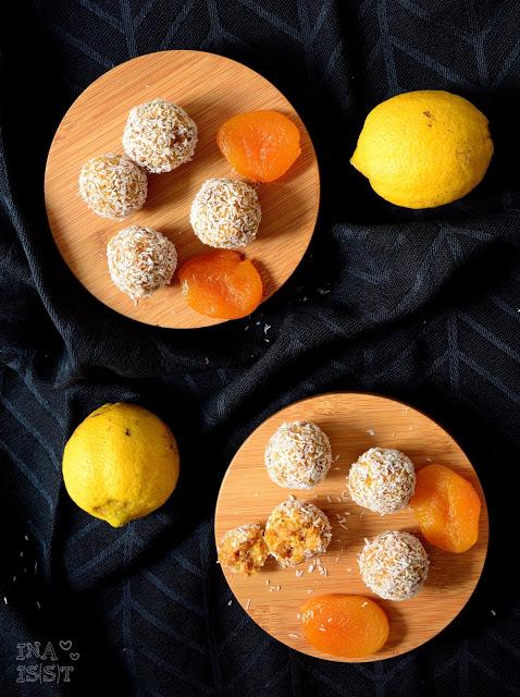 Vegane Kokos-Energiekugeln mit Aprikose und Zitrone