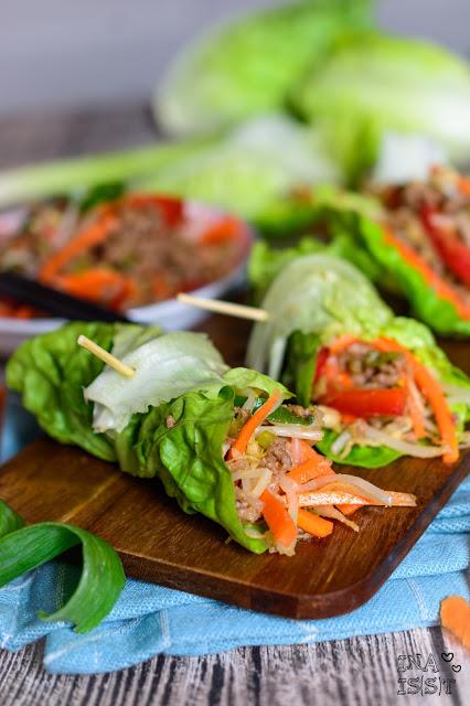 Koreanische Salatwraps mit Hackfleisch, Korean beef lettuce wraps