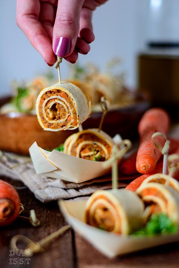 Vegane Tortillaröllchen mit Karotten-Bohnencreme