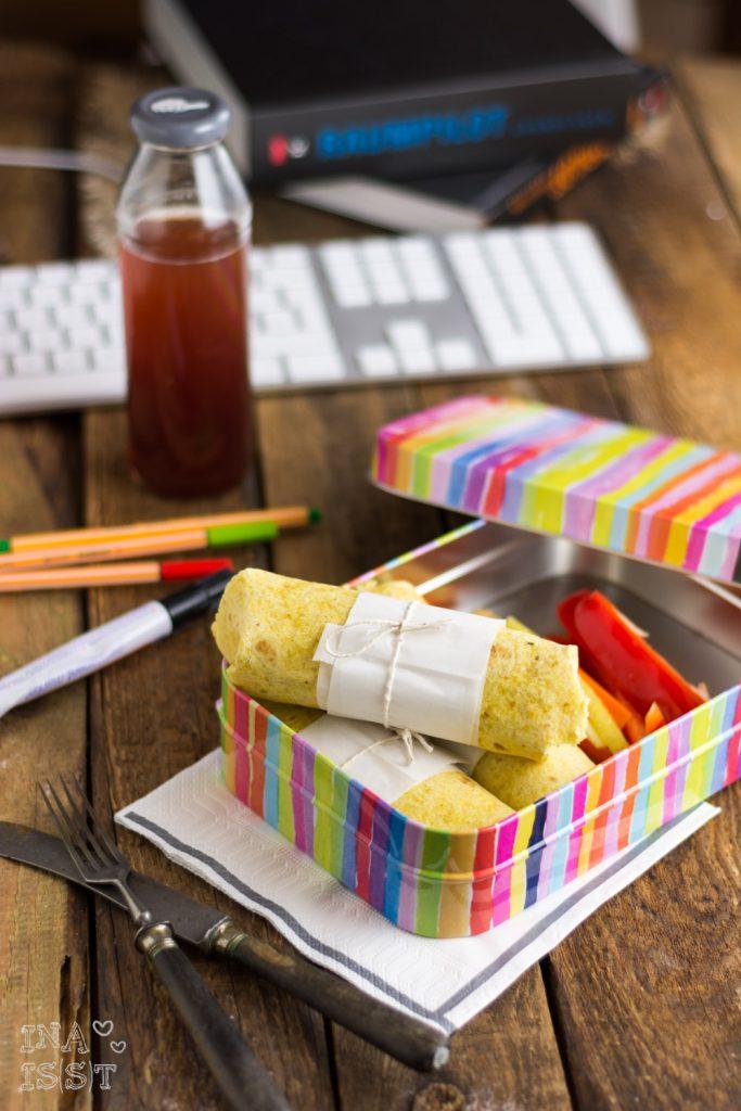 Essen im Büro, Reis-Burritos mit frischem Gemüse