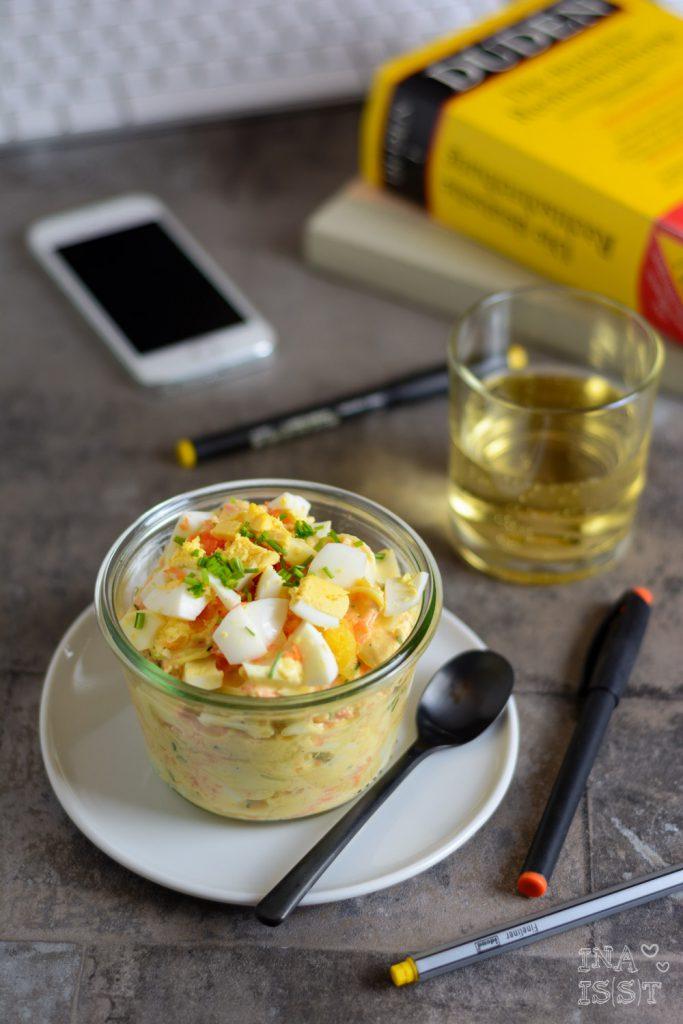 Essen im Büro, Leichter Eiersalat mit Möhre und Petersilienwurzel