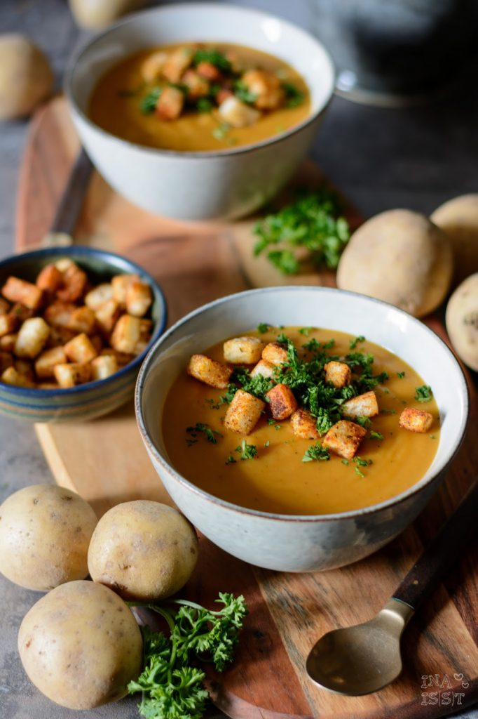 Rezept für fränkische Kartoffelsuppe mit Paprika-Croutons, Dipster Nürnberg