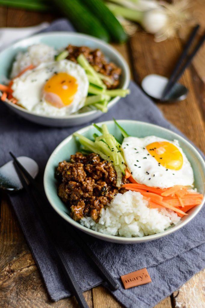 Korean Beef Bowl Rezept, Fleisch asiatisch mit Reis