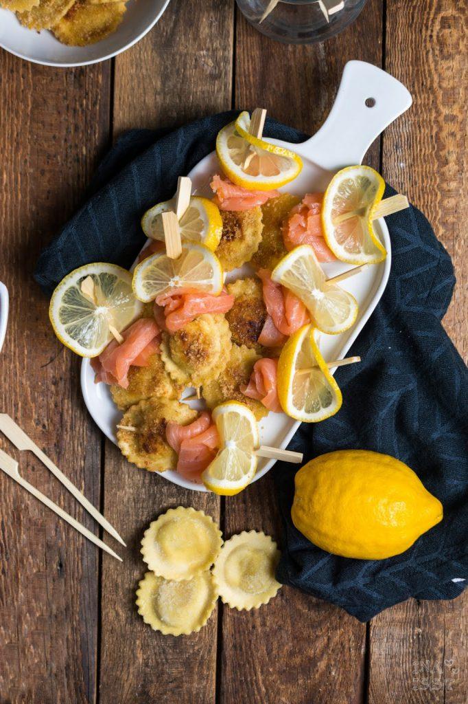 Rezept für Nudelspieße; Fingerfood mit Tortellini und Lachs, Trüffel Pasta, Steinhaus, Ina (s)t