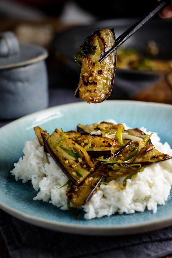 Rezept für chinesische Auberginen, Yu xiang qie zi: Chinesisches Auberginen Gemüse mit Knoblauch und Chili