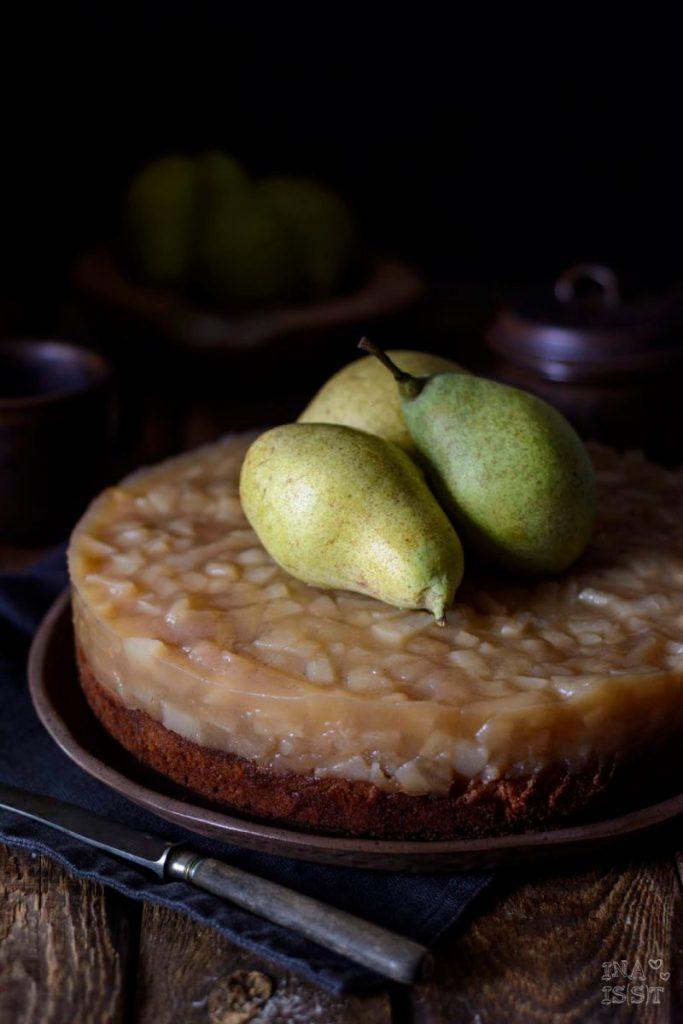 Rezept für Birnen-Stracciatella-Kuchen; Birnenkuchen; Birnenkomott; Stracciatella-Kuchen