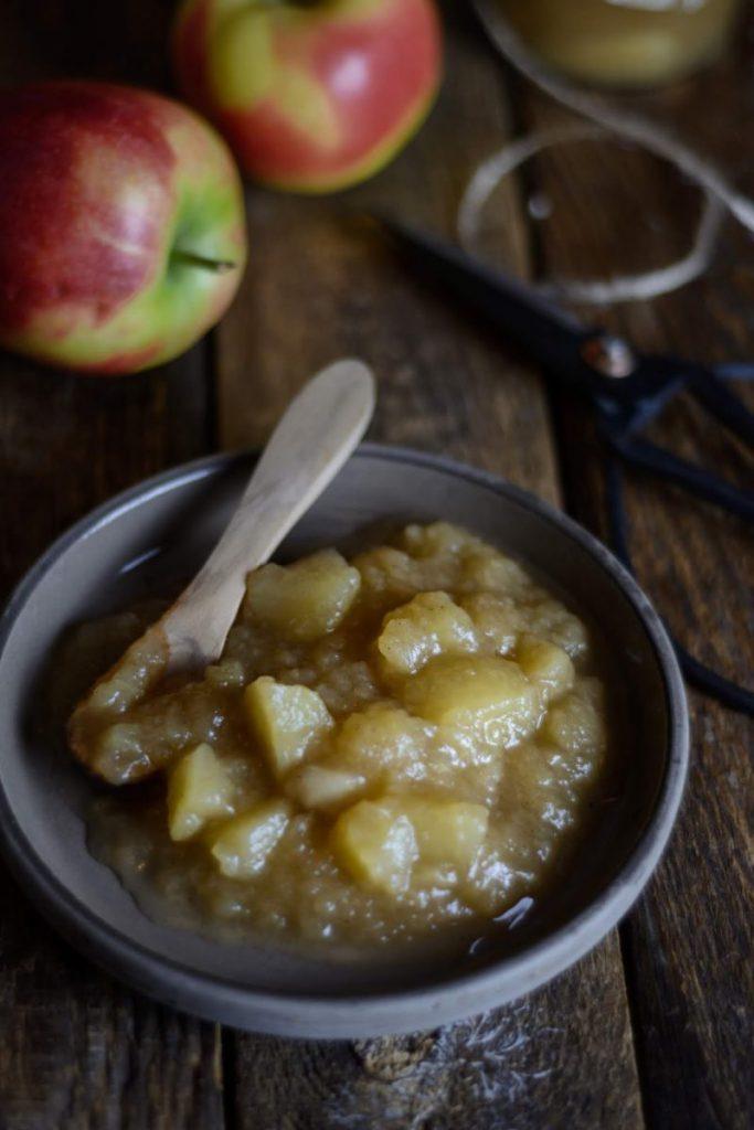 Apfelkompott mit Grappe einfach einkochen, Apfelmus einkochen