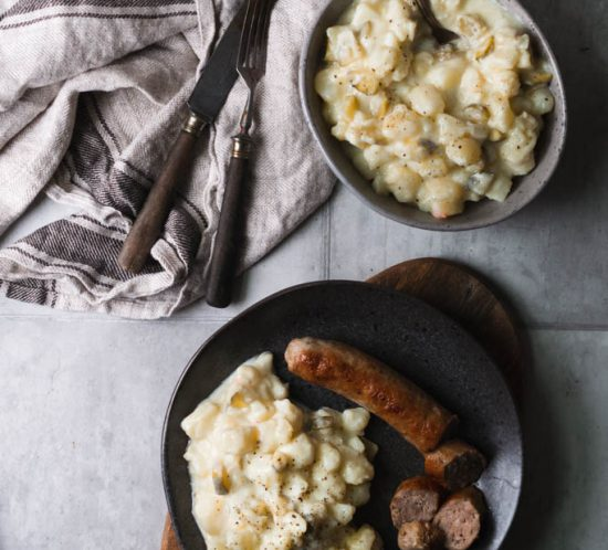 Rezept für Hessischer Kartoffelsalat mit Brühe und Schmand