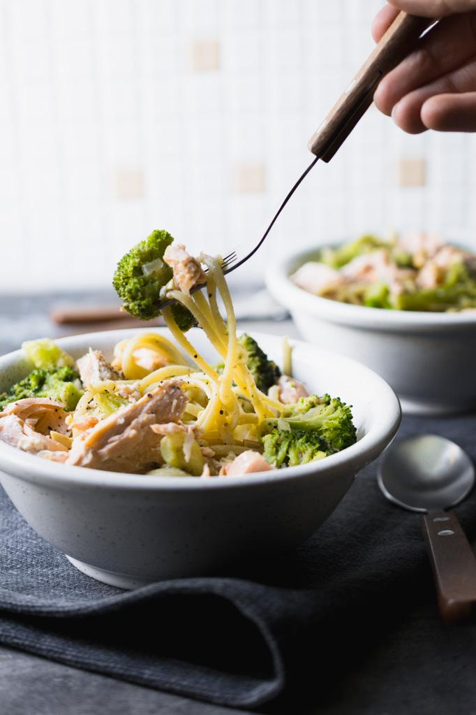 Rezept Spaghetti Lachs Brokkoli, Nudeln Erdnuss