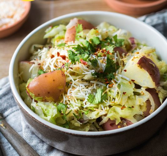 Rezept Spitzkohl Kartoffel Pfanne mit Kokos und Koriander