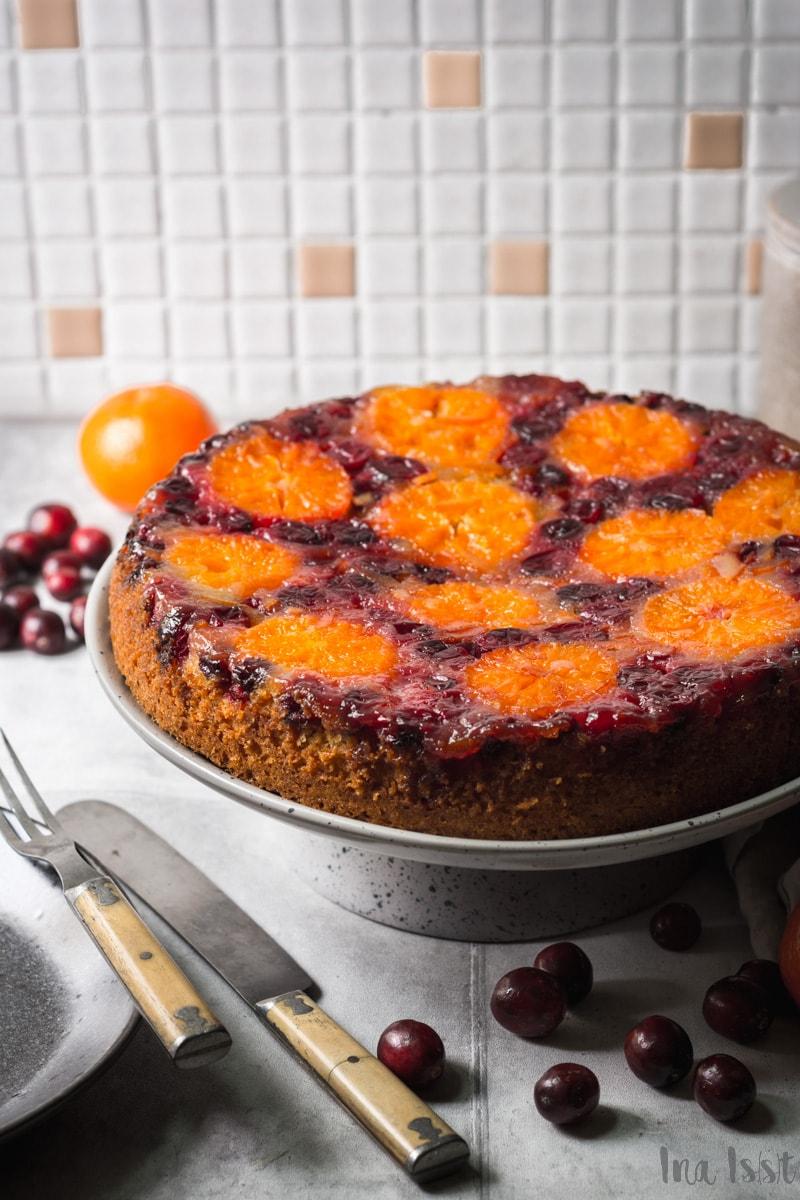Einfacher Upside Down Cranberry-Mandarinen Kuchen