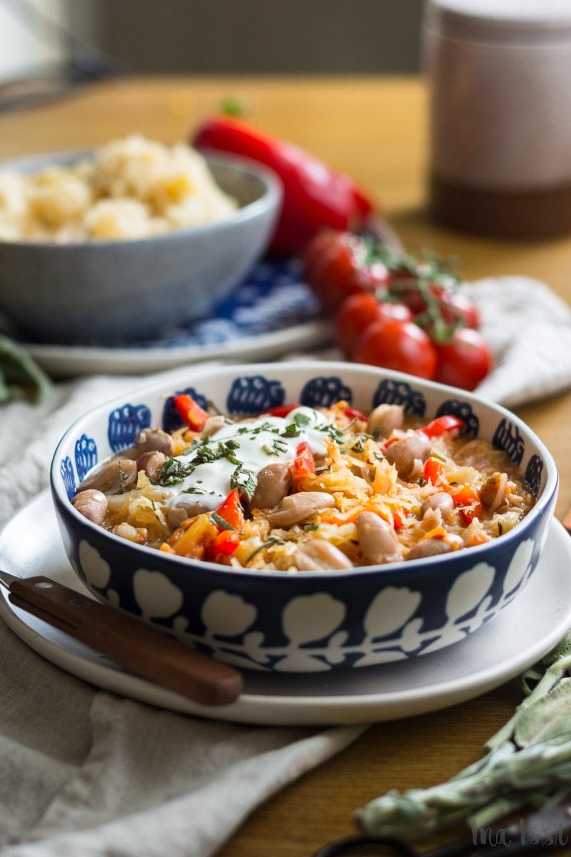 Rezept für milde Sauerkrautsuppe mit Borlotti Bohnen