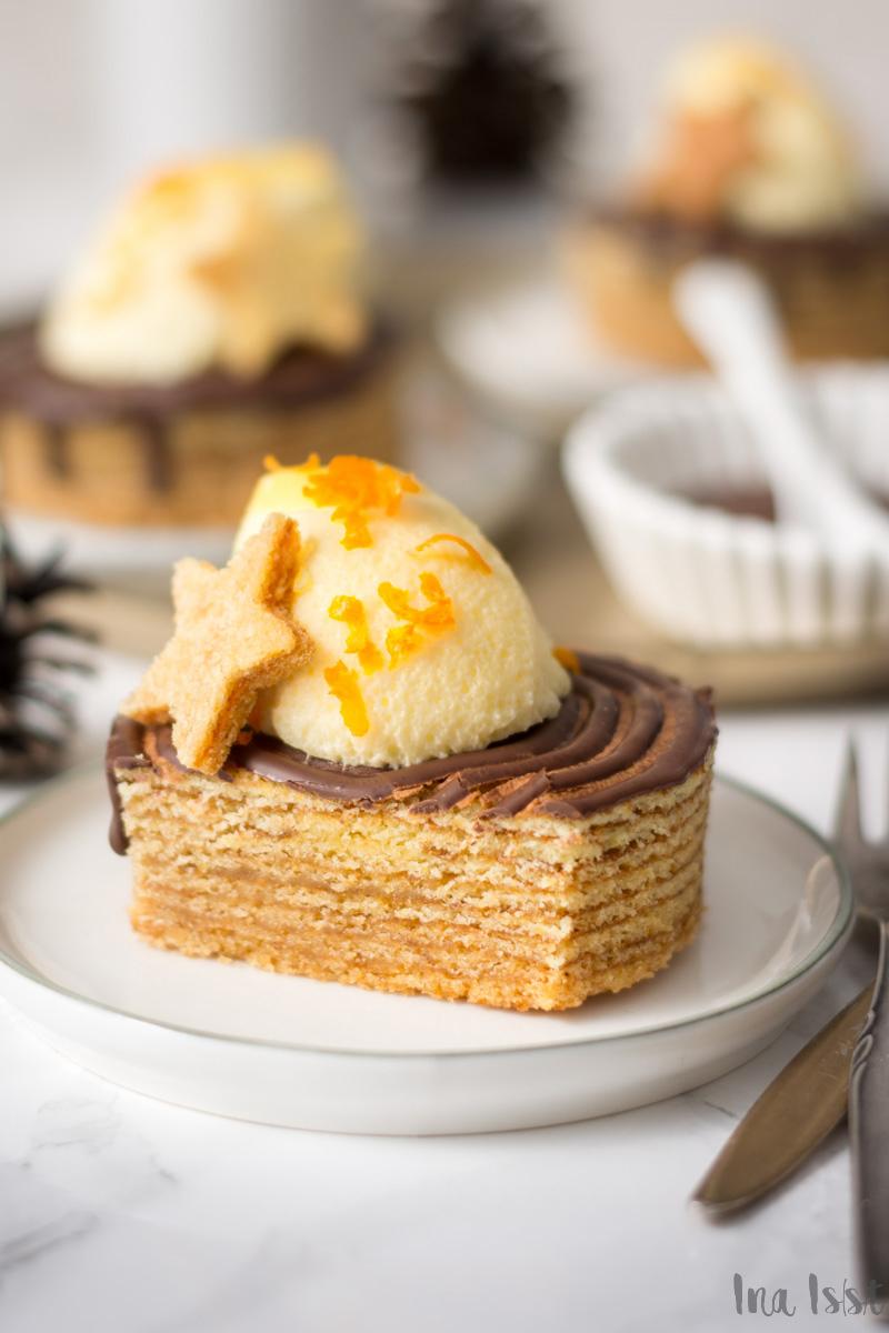Festliche Baumkuchen-Törtchen mit Orangencreme