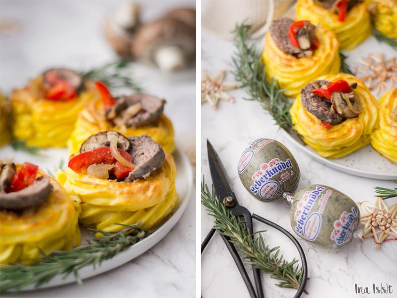 Kartoffelkranz, Kartoffelnest, Weihnachten, Leberknödel