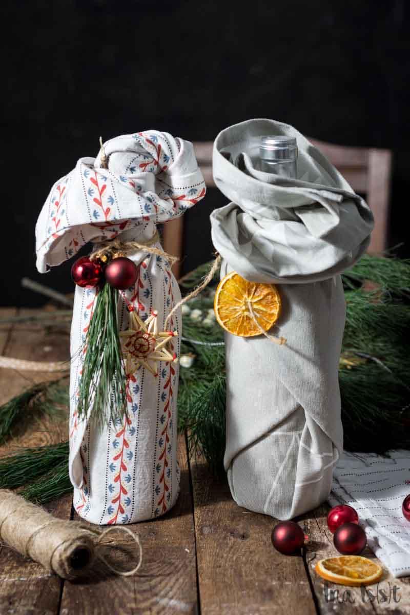 Anleitung Wein als Geschenk verpacken