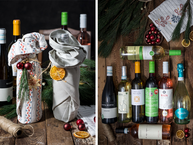 Wein, verpacken, Geschenk, Weihnachten