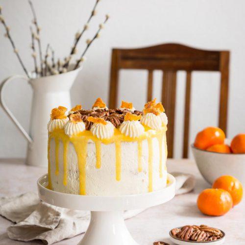 Pekannuss Torte mit Orangekompott und Mascarponecreme, Torte für Ostern, Nusstorte