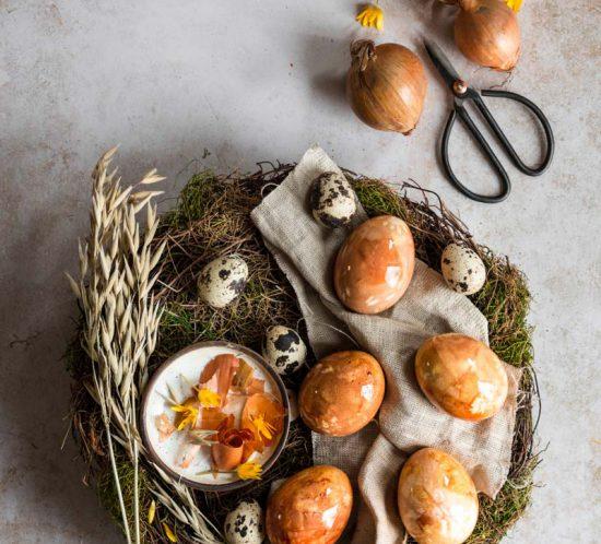 Irish Fairy Eggs, Ostereier natürlich färben, Ostereier Zwiebelschale, Ostereier Naturfarben