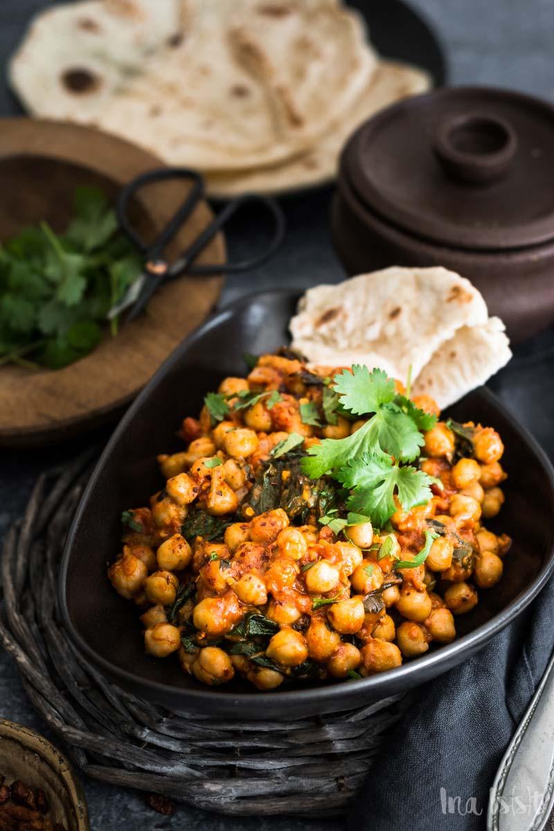 Vegetarisches Kichererbsen Curry mit Spinat, Curry Rezept ohne Fleisch