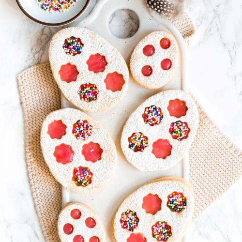 Ostereier Kekse mit Rhabarber Gelee, Kekse Ostern, Osterkekse mit Marmelade