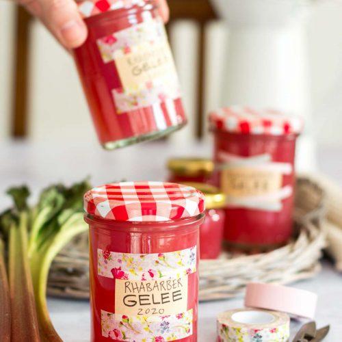 Rezept für Rhabarber Gelee ohne Gelierzucker mit Agar Agar, Rhabarber Marmelade, Rhabarber Gelee ohne Gelatine