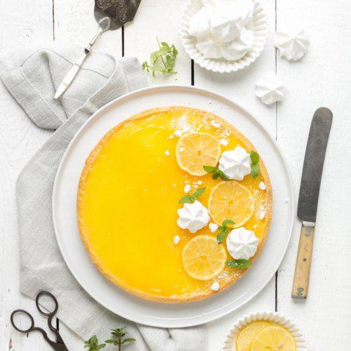 Tarte au citron, französische Zitronentarte, Zitronenkuchen aus Frankreich