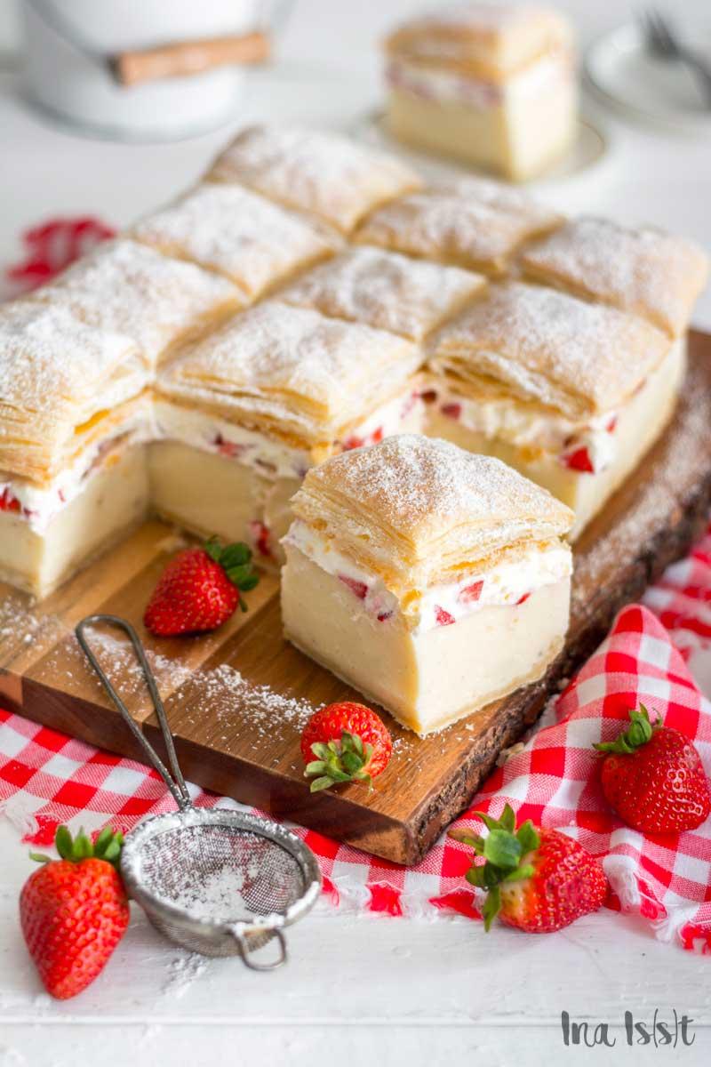 Erdbeer Cremeschnitten, Blätterteig selber machen, Erdbeerkuchen