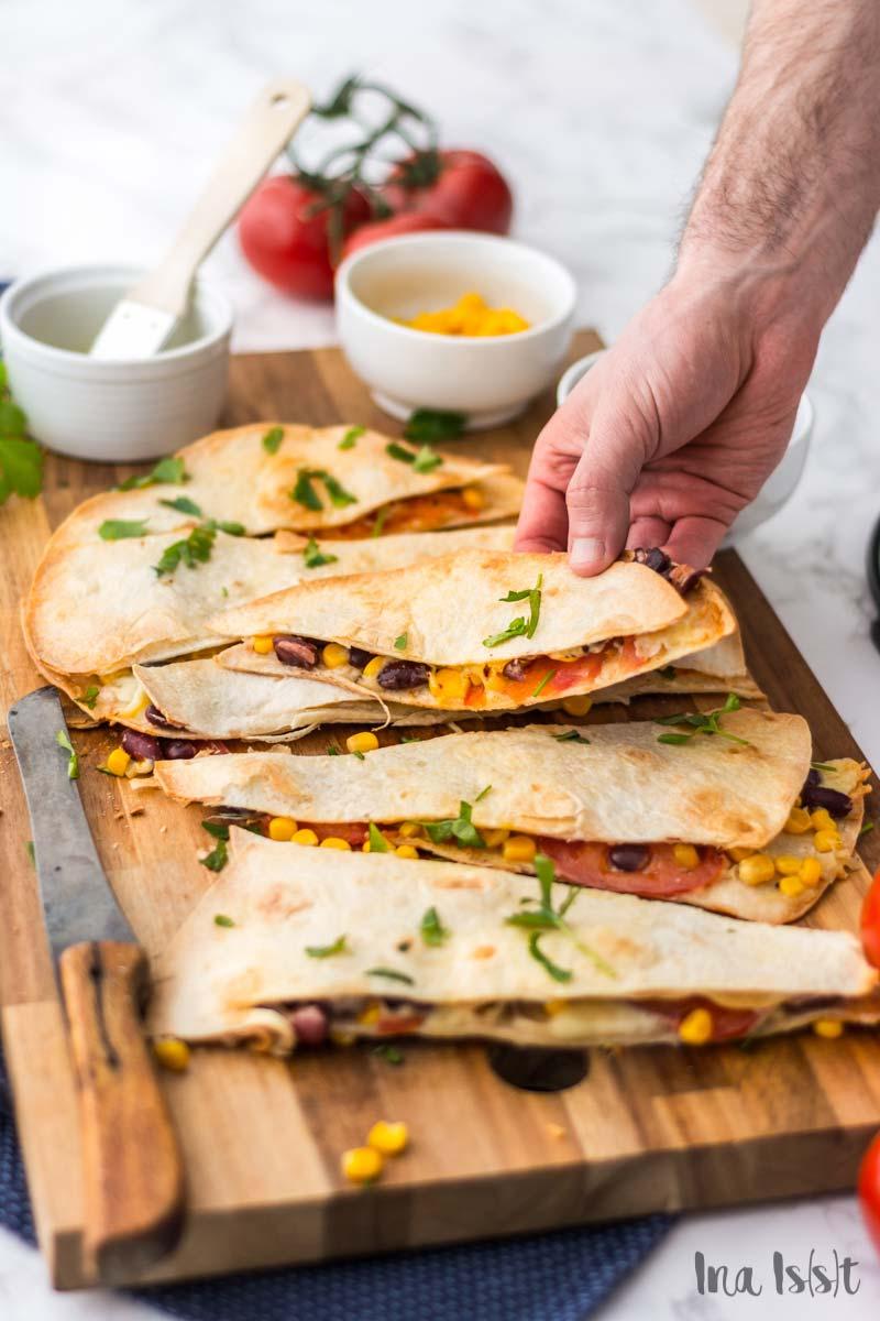 Vegetarische Tex-Mex Wraps aus dem Ofen, Ofen-Wraps, Fix vom Blech