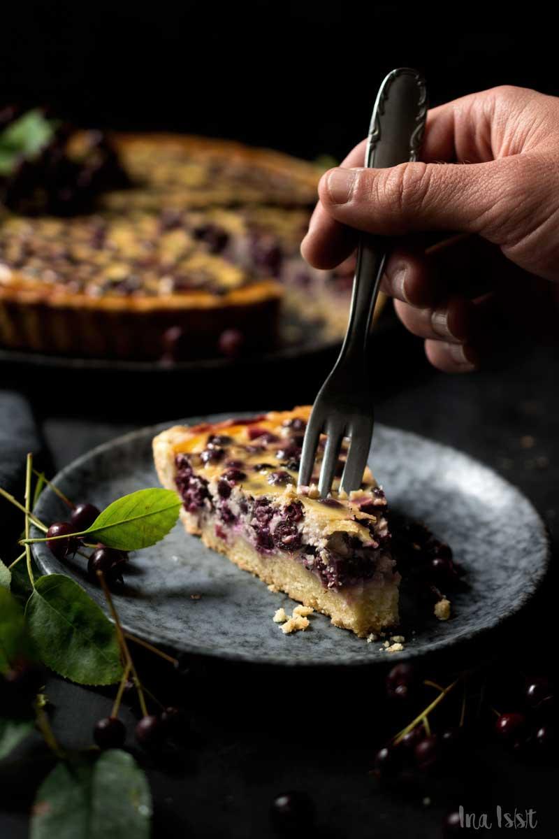 Felsenbirne Beeren Kuchen mit Sauerrahm, Felsenbirne Rezept, Beerentarte