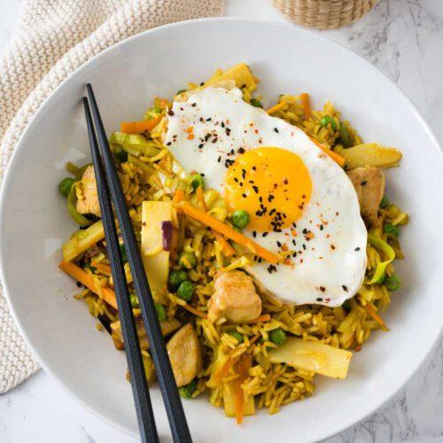 Rezept für Nasi Goreng mit Hähnchen, Einfaches Nasi