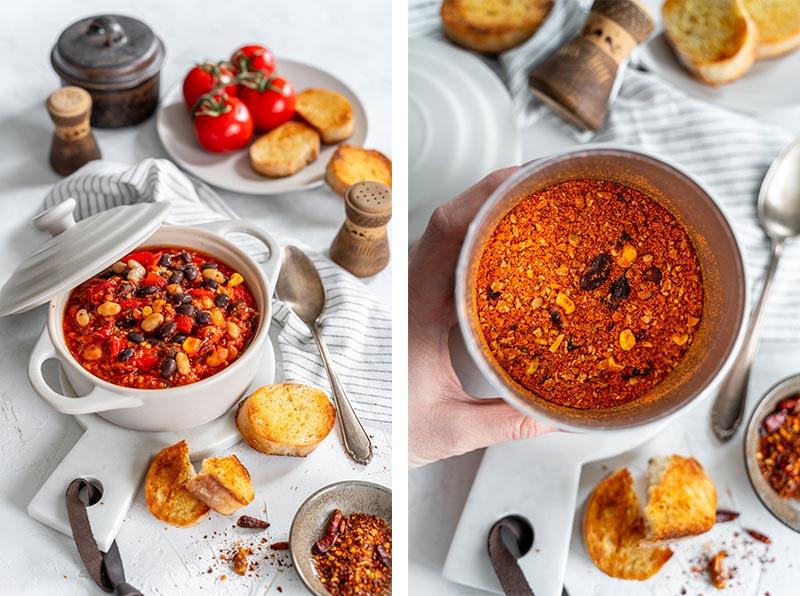 Vegetarischer Chili sin Carne Eintopf mit dreierlei Bohnen, Rezept für vegetarisches Chili, Chili mit Bohnen