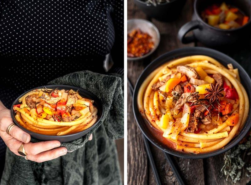 Lagman, Usbekische Nudelsuppe mit Maccaroni und Rindfleisch