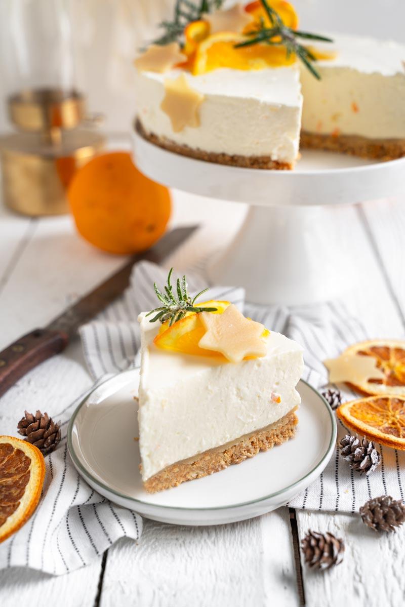Orangen-Käsekuchen mit Marzipan, Weihnachtlicher Käsekuchen, Käsekuchen mit Orange