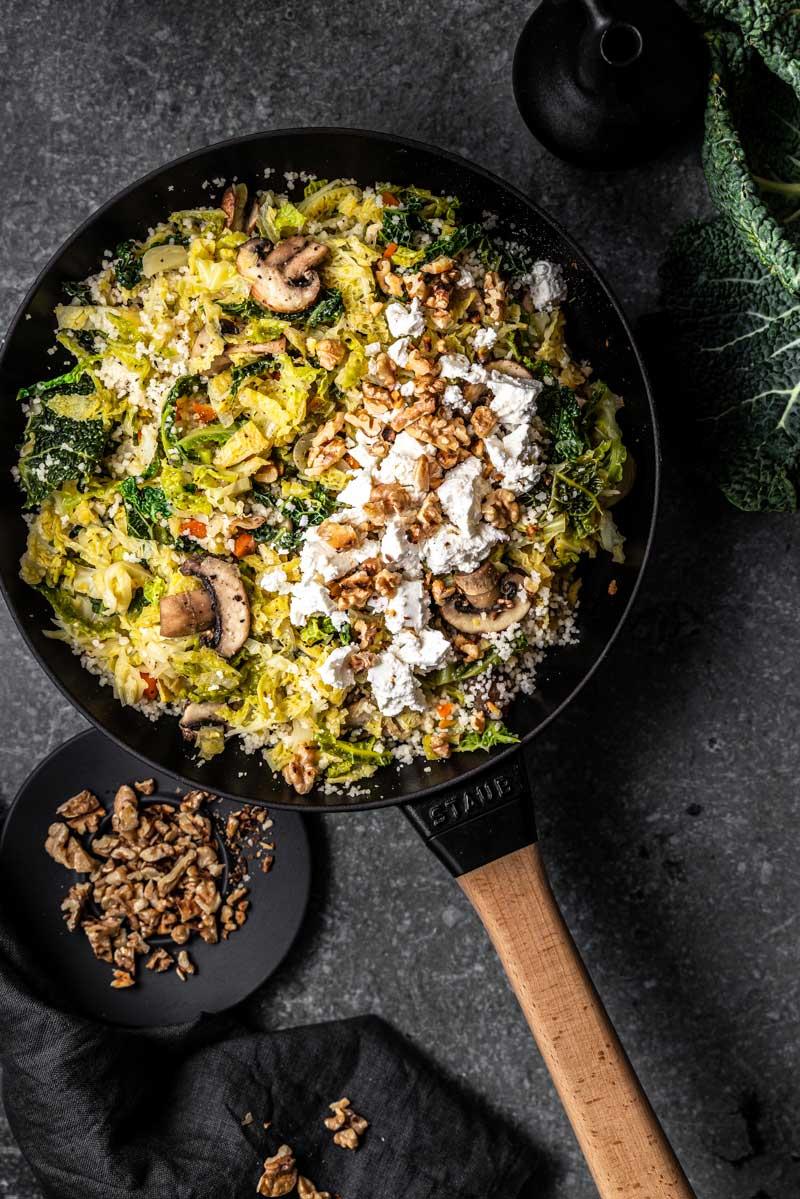 Vegetarische Couscous-Pfanne mit Wirsing und Feta, Wirsing Pfanne, #wirsing, #pfannengericht