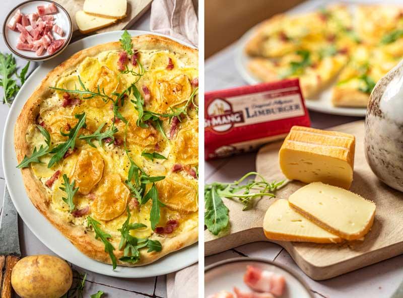 Kartoffelpizza mit Allgäuer Limburger und Rucola, Pizza mit Kartoffel, #Kartoffelpizza