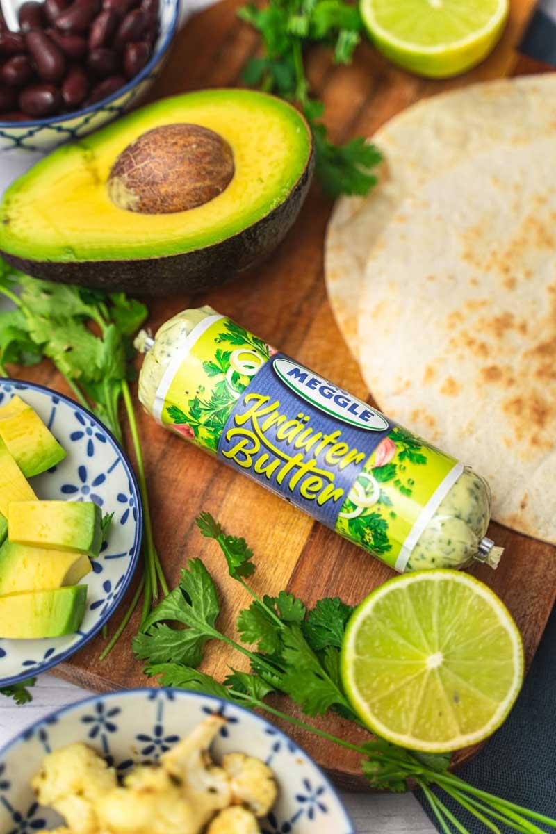 Vegetarische Tacos mit Kräuter-Blumenkohl, Tacos mit Kräuterbutter, #taco, #kraeuterbutter
